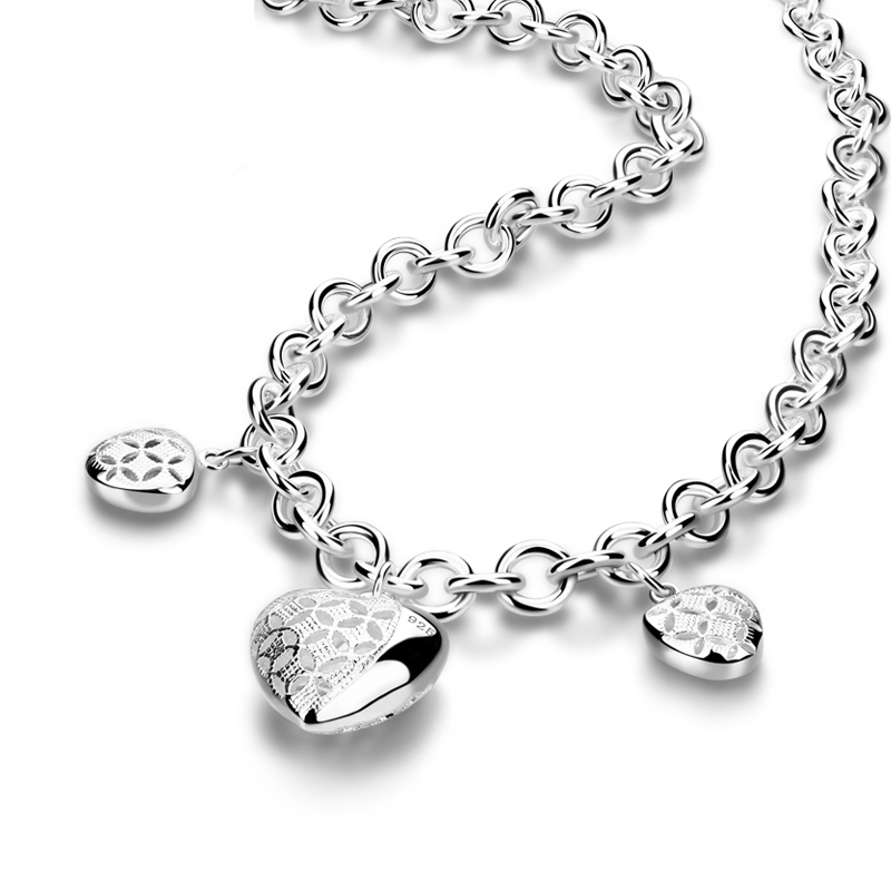 Fashion sterling silver woman necklace. Solid 925 Silver Heart Pendant 9MM46cm Chain. Hot Sale Lady/Girl Silver Jewelry Gift цена 2017