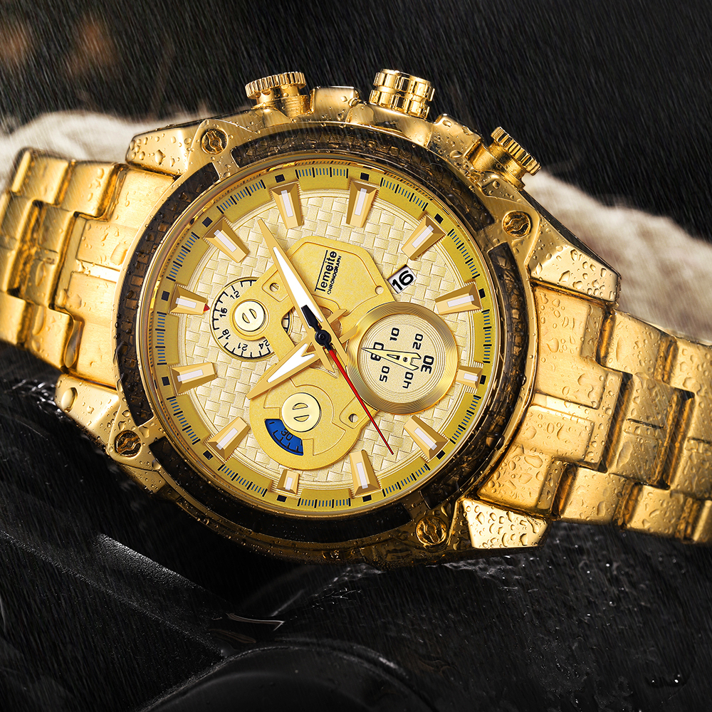 Top Brand Luxury Golden Watches Men Stainless Steel Strap Fashion TEMEITE Waterproof Quartz Wristwatch Calendar Oversize Clock 13