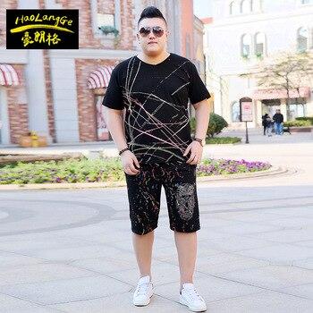 Large size men's suit short-sleeved T-shirt loose short 2 piece sets big yards V collar collar summer print man's clothing 7XL