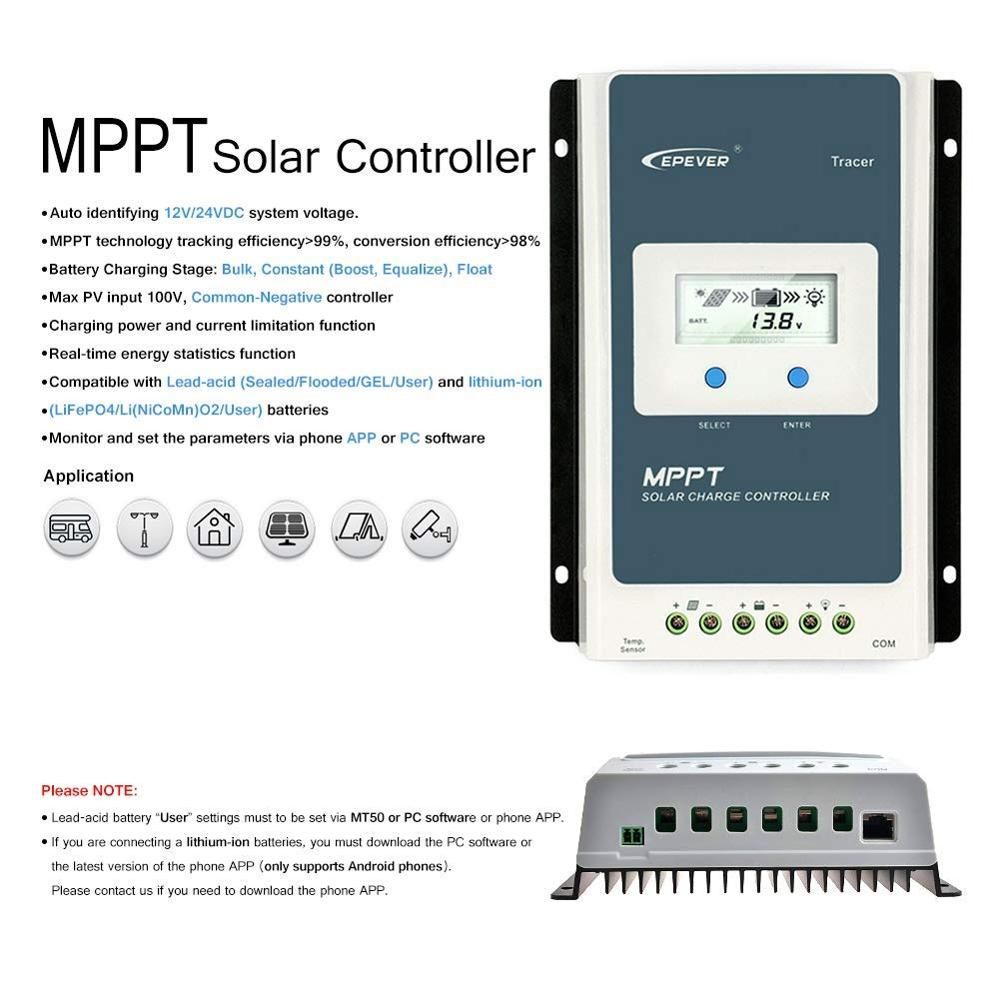 EPEVER 10A 20A 30A 40A MPPT Solar Charge Controller 12V/24V Auto Remote Meter MT50 Fit For Lithium Battery Negative Ground LCD