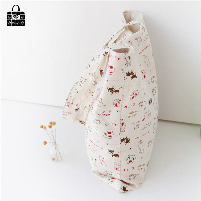 Cute 100% Cotton Cat Shoulder Bag
