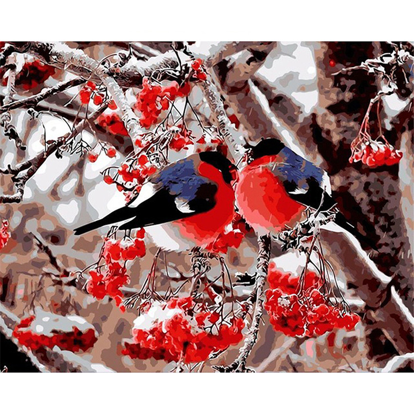 DIY Digital Painting By Numbers Package Winter bird oil painting mural Kits Coloring Wall Art Picture Gift frameless