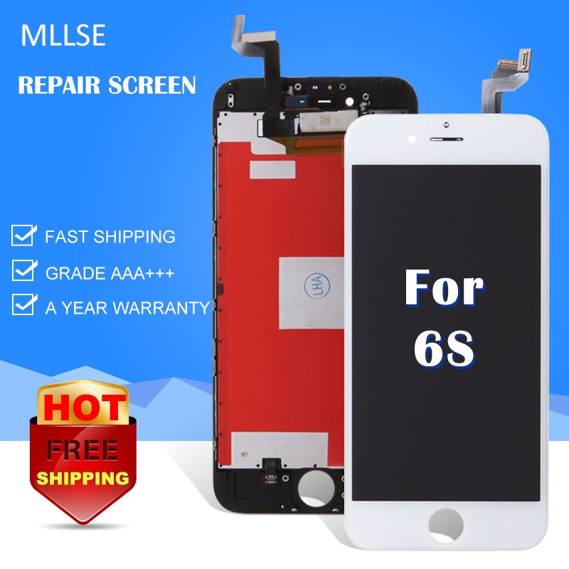 MLLSE For iPhone 4 5S 5C 6 6+ 6S PLUS LCD Display LCD Front Screen White Glass Lens Digitizer Frame Assembly Replacement Repair