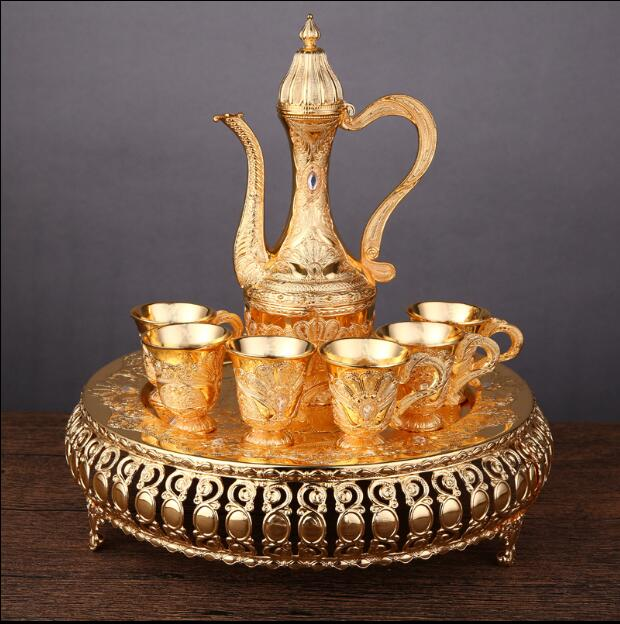 European alloy Vintage gold color wine set Wedding bar home jug decoration drinkware tableware drinks set