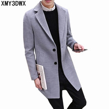 2017 New Long Trench Coat Men Windbreak Winter Fashion Mens Overcoat 100% Wool Quality Thick Warm Trench Coat Male Jackets