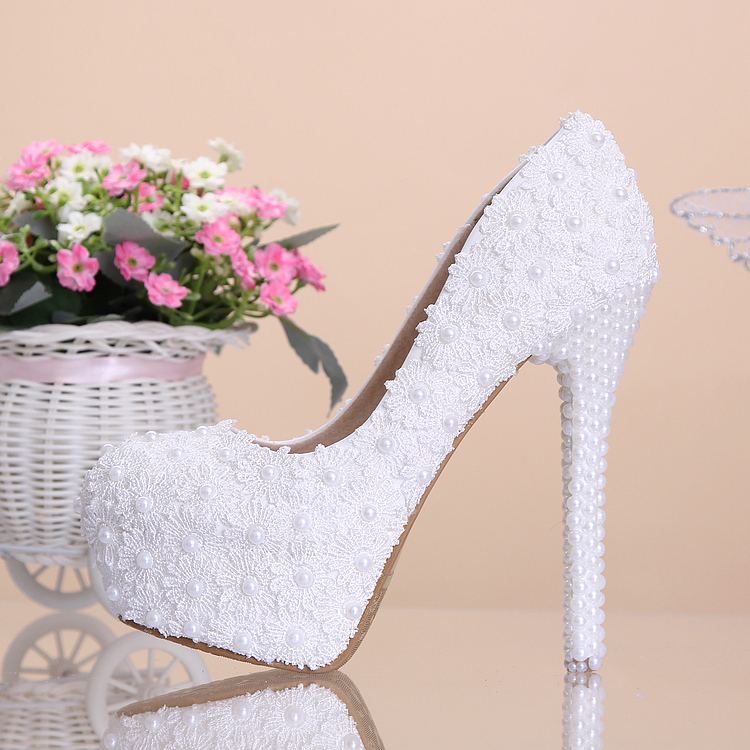 ФОТО Sweet White flower Lace Platform High-heeled Shoes pearl Wedding Shoes bride dress Shoes single Shoes 14cm Heel Pumps party red