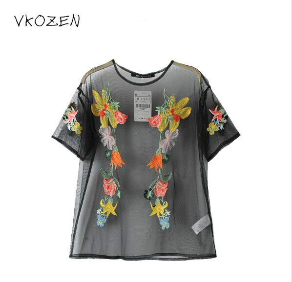 2017 Fashion Flower Embroidery Women Black Blouses Two piecs Long Sleeve Quality Casual  Pullover Shirts ZA Tops blusas feminina