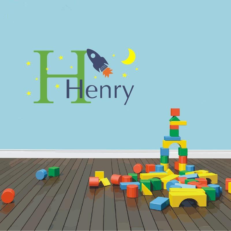 Custom-Name-Initial-Rocket-Kids-Nursery-Room-Wall-Decal-Sticker-Home-Art-Decor-Mural-Boys-Design