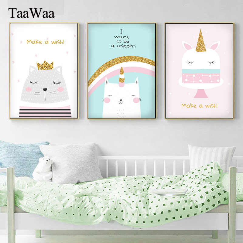 Rainbow Unicorn Poster Nursery Quotes Wall Art Canvas Painting Print Nordic Style Decorative Picture for Baby Girl Bedroom Decor