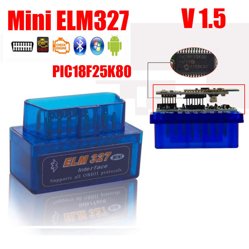 Super ELM327 V1.5 Chip PIC18F25K80 mini V2.1 OBD2 ELM 327 Bluetooth Adapter Android/Symbian/pc on OBD2 OBD II Protocol FW V1.5