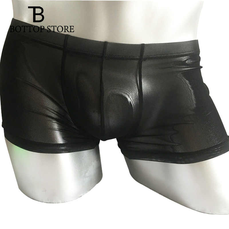 MLXN Man Sexy Boxer Shorts Male Penis Pouch Bulge Transparent Thin Mens Underwear Gay Boxershorts Panties Plus Size See Through