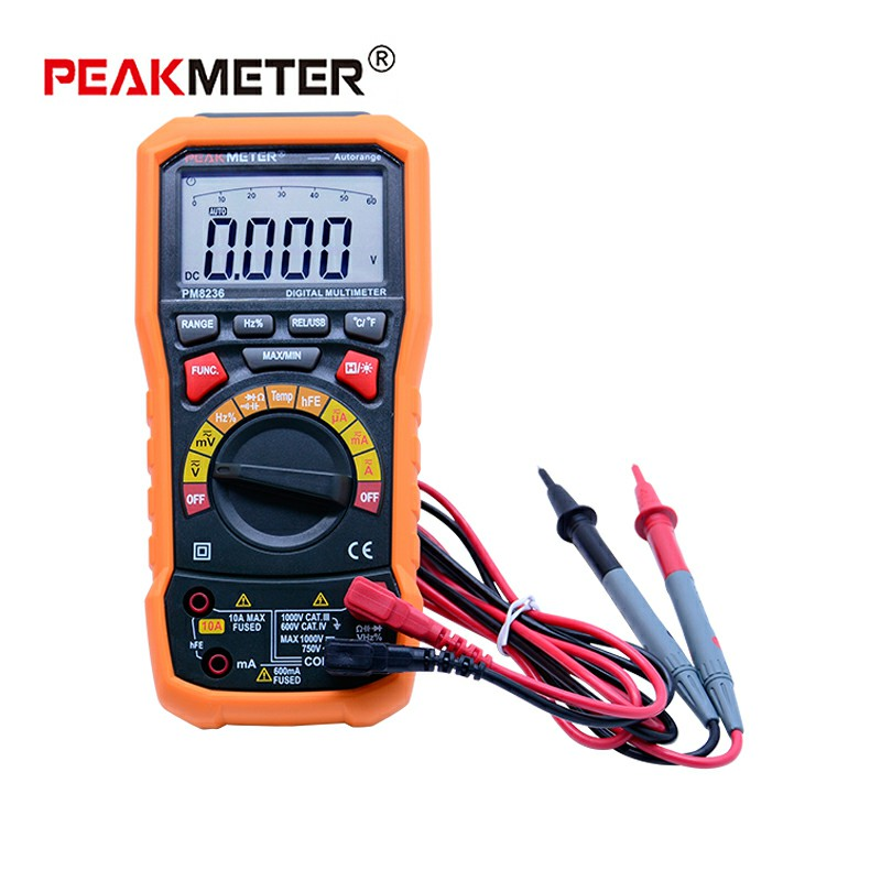 Digital Multimeter tester Auto Range multimetro Temperature Tester and Data Logger 6000 counts PEAKMETER MS8236 цена