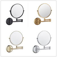 Bathroom Mirrors 3 x Magnifying Mirror of Bathroom Makeup Mirror Folding Shave 8 Dual Side Antique Brass Wall Round Mirrors