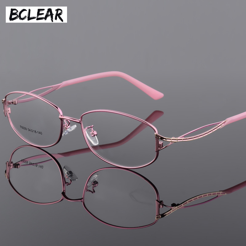 BCLEAR Alloy Eyeglasses Ladies Elegant Oval Full Frame Glasses Frame Metal Ultra Light Presbyopia Myopia Prescription Eyewear