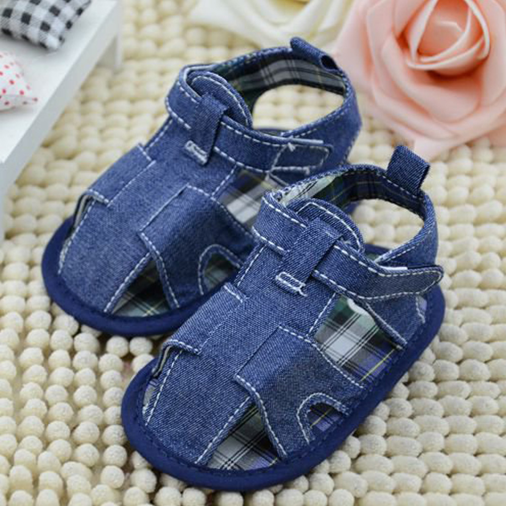 BS#S 0-18M Summer Baby Classic Soft Sole Shoes Boys Cotton Toddler Sandals Blue Jean and White Sandals