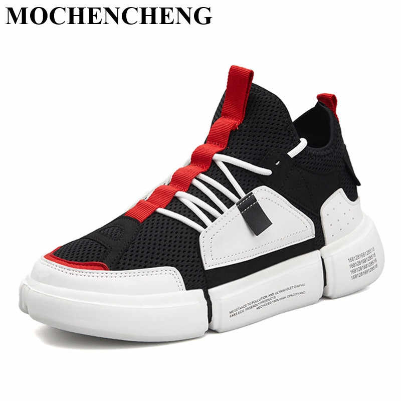 Fashion Men Sock Sneakers for Summer Breathable Mesh Lace-up Flat Casual Shoes Wear Resistant Antiskid Male Skate Tenis Footwear
