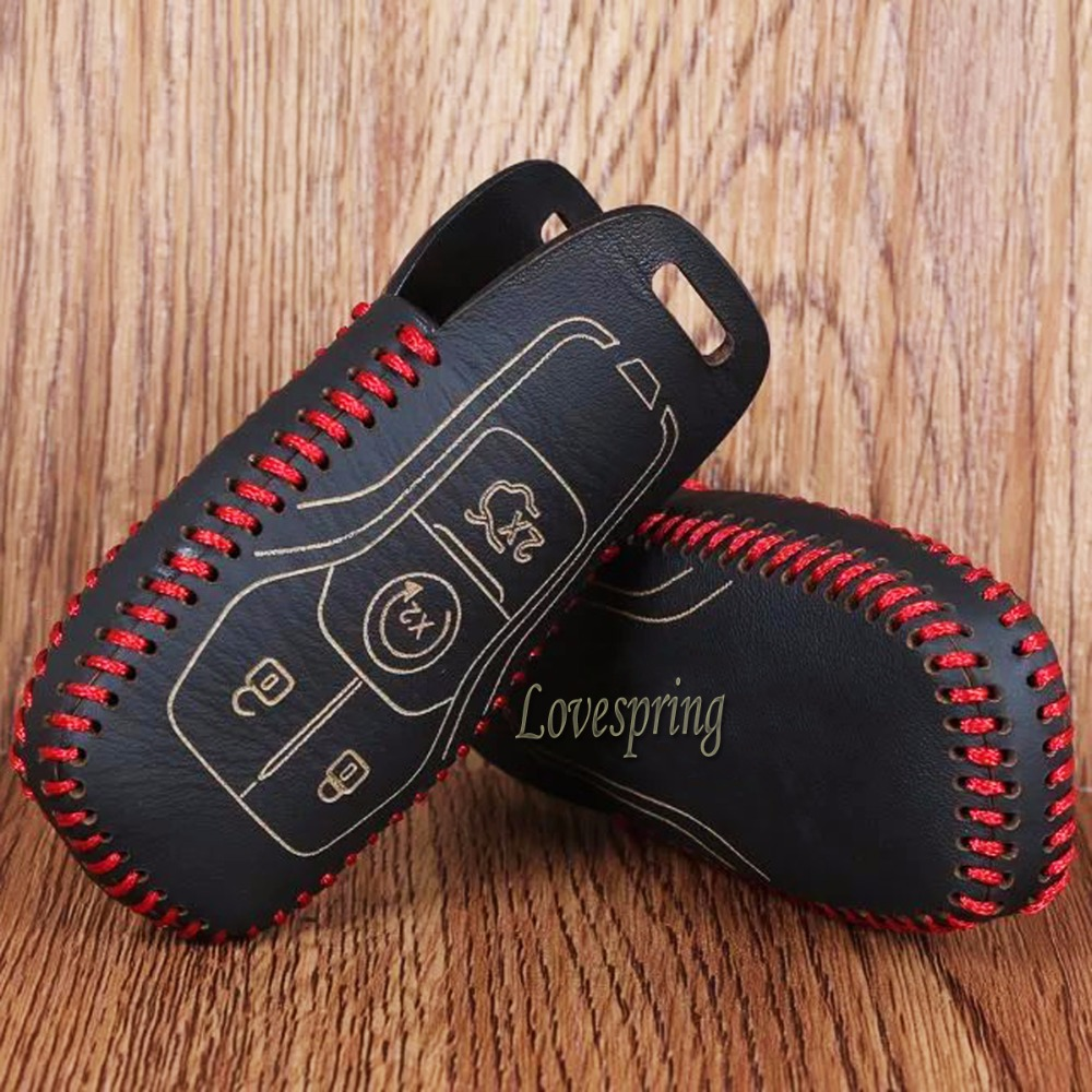 Genuine Leather Car Key Bag Case Cover Holder For Ford Mustang