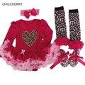 Corazón de la manera Del Bebé Del Tutú Mameluco Diadema Set Leopard Lace Partido Vestido de la Muchacha de san Valentín Trajes Vestidos Menina Muchacha Del Niño Ropa