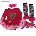 Fashion Heart Baby Tutu Romper Headband Set Leopard Lace Party Dress Girl Valentine Outfits Vestidos Menina Toddler Girl Clothes