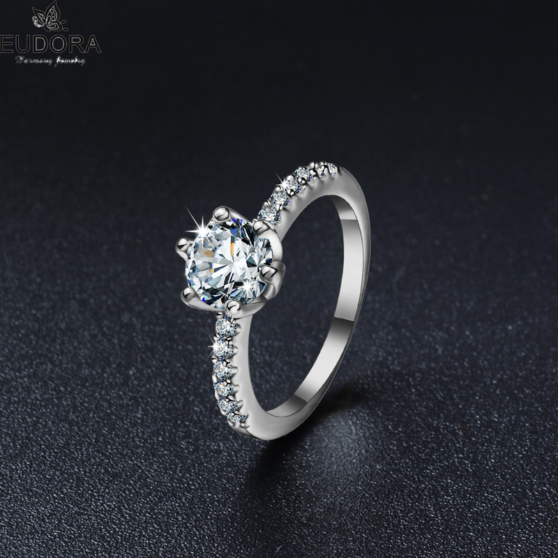 Eudora Romantic Wedding Promise Engagement Rings 6 Prongs Setting Cubic Zirconia Ring Jewelry For Women Love Anillos Mujer