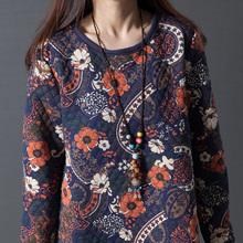 Uego 2018 Fashion Padding Cotton Thick Autumn Winter Dress Print Pattern Long Sleeve Women Casual Dress Vintage Party Dress