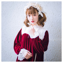 The Antique Baby Dolly Women's Winter Velvet Dress Lace Collar Lolita Dress One Piece Long Sleeve Cute Blue & Wine Red(China)