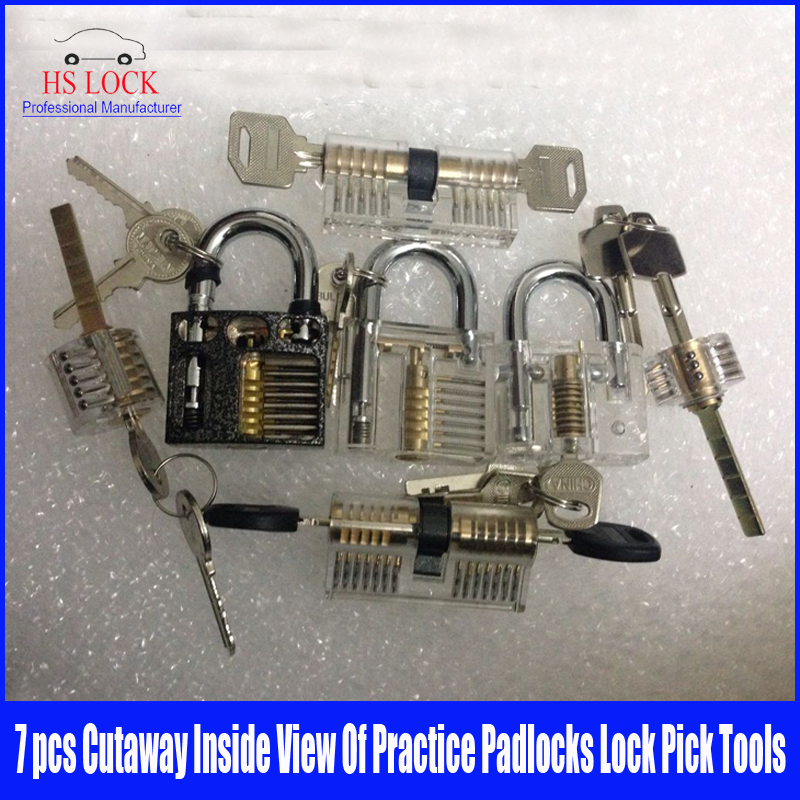 7pcs Cutaway Inside View Of Practice Padlocks lock Pick set Locksmith Training Skill Tools 3pcs cutaway inside view of practice padlocks ab lock crescent lock tau lock pick tools locksmith training skill tools set