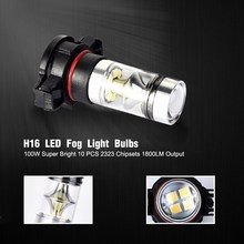 1 Pair H16 Car Fog Lights Bulbs PS24WFF 2504 5201 5202 9009 12085 1800LM Auto LED Headlight 6000K