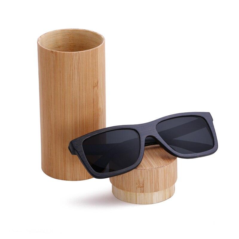 BerWer 2018 new black frame bamboo sunglasses polarized lens wooden sunglasses