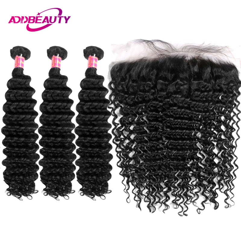 Human Hair Bundles With Frontal Closure Deep Wave 13x4 Ear To Ear Swiss Lace 3 Pcs Brazilian Remy Hair Free Part AddBeauty