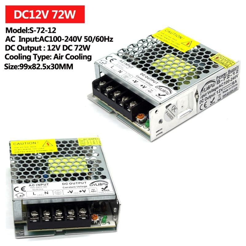 Один Выход Питание DC12V 15 Вт 24 Вт 36 Вт 48 Вт 60 Вт 72 Вт 100 120W 12V светильник ing трансформаторы AC к DC импульсный источник питания для светильник CCTV - Цвет: 72W