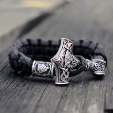 Mens Viking Mjolnir Leather Bracelet Thor hammer Wristband Norse Mythology Runes Amulet Jewelry