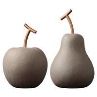 Creative abstract apple pear ceramic sculpture decoration Unique retro art fruit ceramic craft decoration