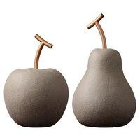 Creative abstract apple pear ceramic sculpture decoration Unique retro art fruit ceramic craft decoration