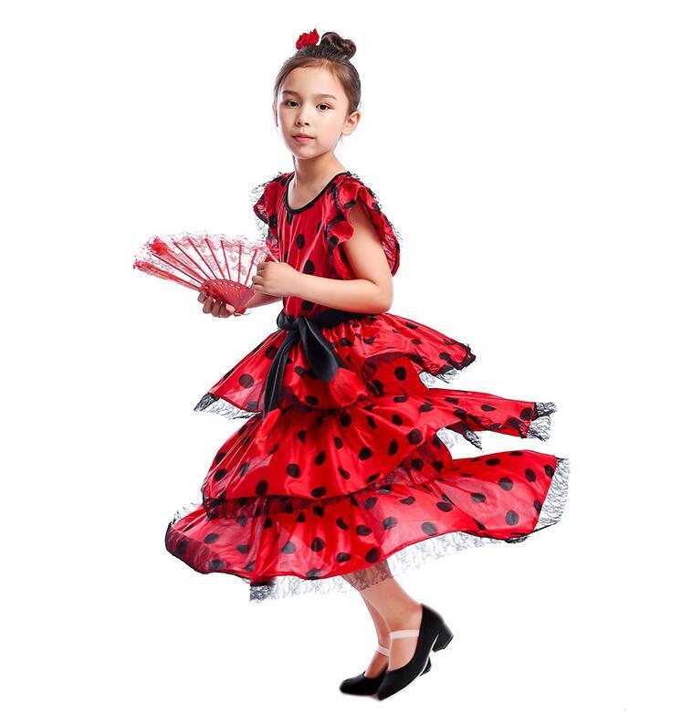 New Kids Flamenco Skirts Spanish Flamenco Dance For Girl Spanish Senrite Flamenco Dancer Fancy Dress Costume