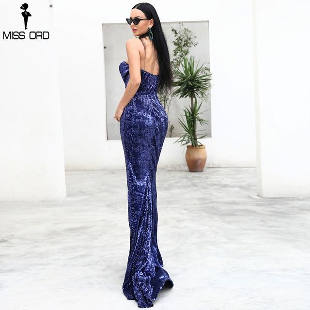Missord 2019 Sexy BRA Off Shoulder Sequin High Split Female Reflective Dress Maxi Elegant Party Dress Vestdios FT9188 5