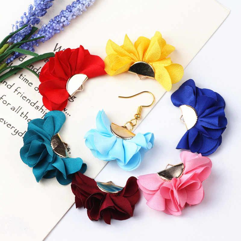 10 Uds mezcla de colores tela borla de flores encantos suministros colgantes borlas para pulsera collar pendiente hacer accesorios de joyería