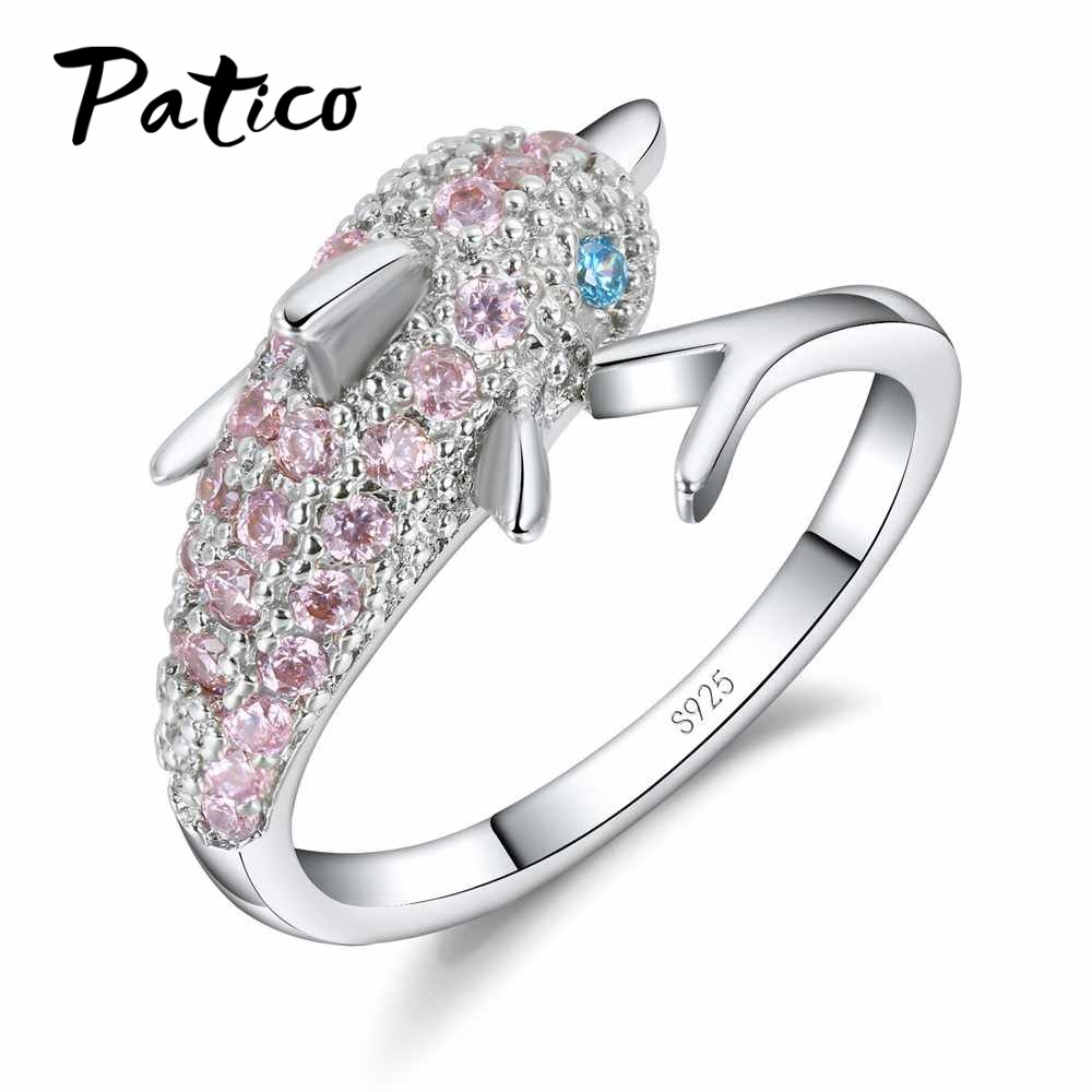 PATICO Lovely 925 Sterling Silver Rings for Women Girls Gifts Pink Cubic Zircon Austrian Crystal Paved Dolphin Party Accessories