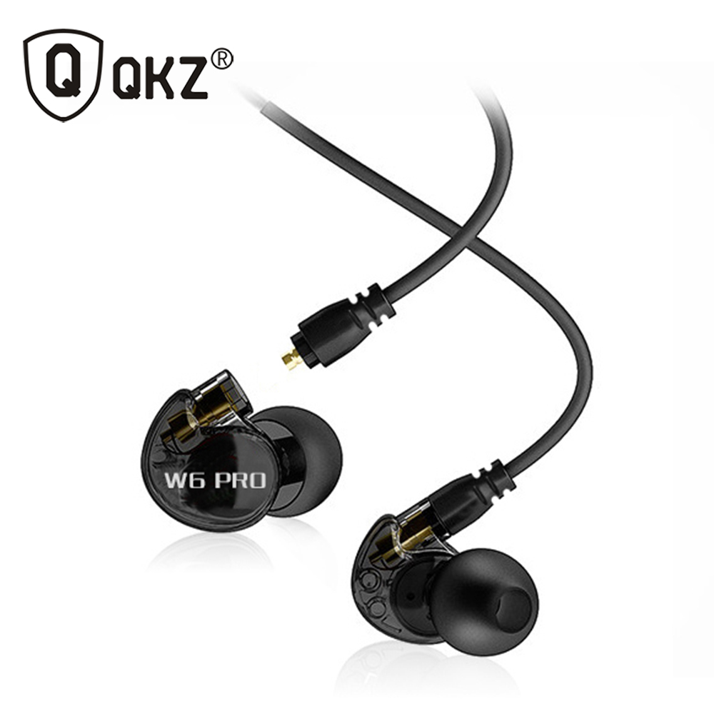 QKZ W6 Earphone Headset With Mic Microphone For Mobile Phones MP3 Stereo Bass Earbuds With 3.5mm Jack fone de ouvido Sport Remov
