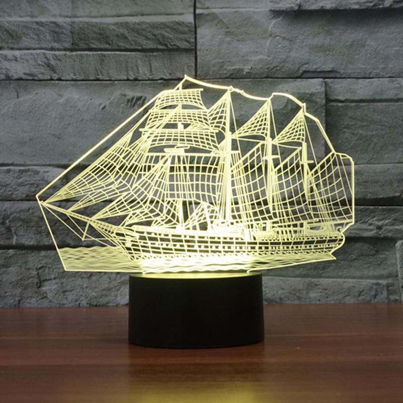 Newest Bedroom Night Desk Light Lamp Versatile 7color illusion Sailboat 3D LED (1)