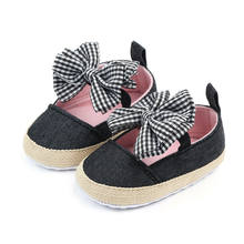 infant Toddler Girls Crib Shoes Newborn Baby Kids Big Bowknot Soft Sole Prewalker Sneakers First Walker Canvas 0-18M(China)