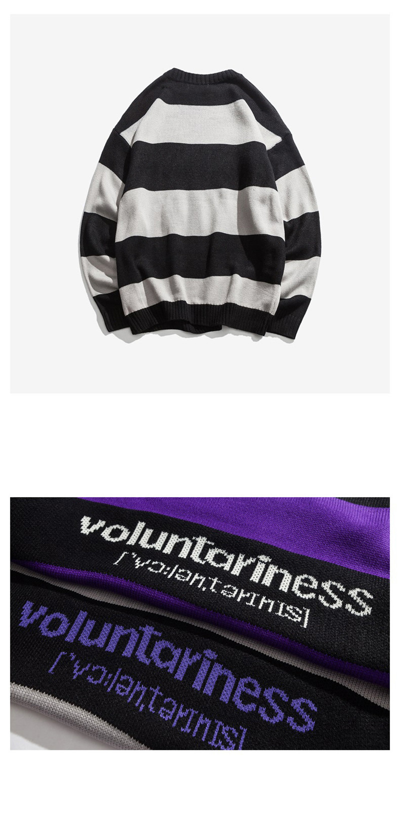 Knitted Japanese Harajuku Hip Hope Letter Pattern Sweater for Men Urban Boys Knit Streetwear Striped Pullover Jumper Plus Size 9