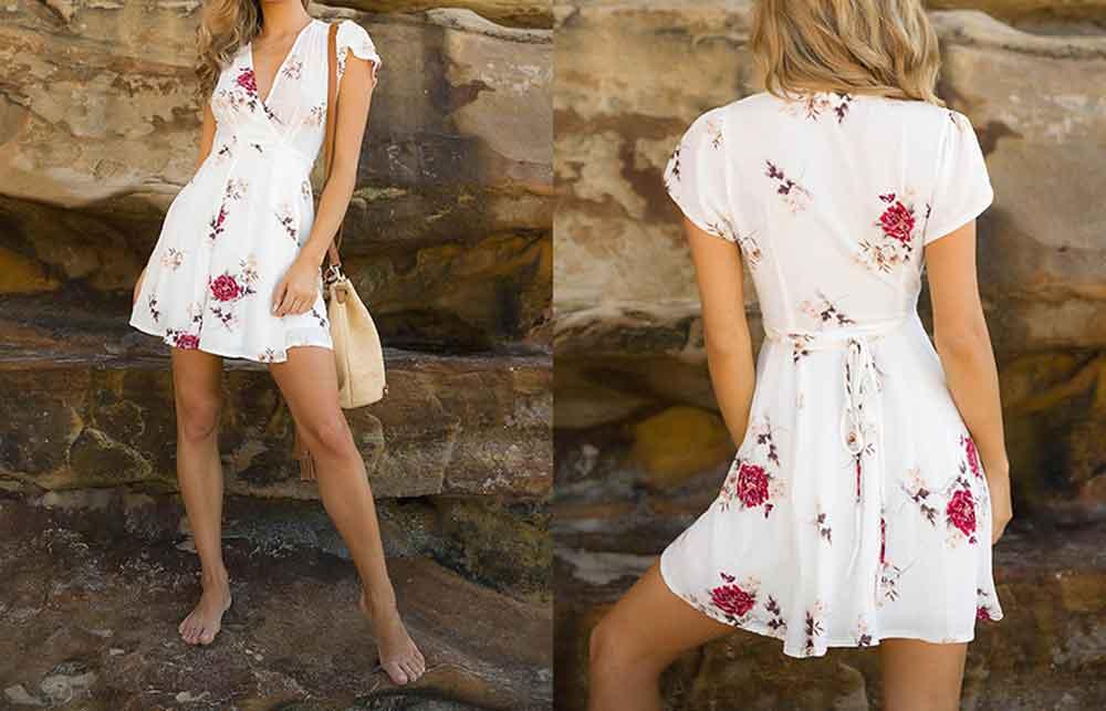 2019 Summer Dress Women Sleeveless Short Sexy Beach Dress Elegant Fashion Party Wrap Dress (4)