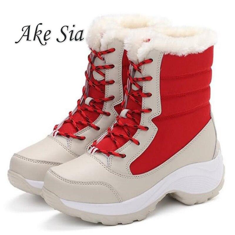 Botas de invierno de talla grande botas de nieve cálidas de Invierno para mujer, zapatos abrigados, botas de plataforma de media pantorrilla para mujer, 2018 zapatos F249