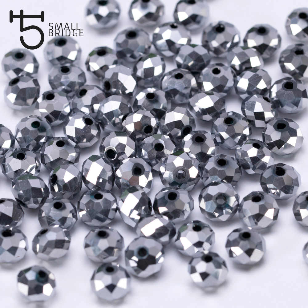 Austria Plating Silver Faceted Rondelle Glass Beads Diy Jewelry Making Accessories Pearls Crystal Spacer Beads Wholesale Z170