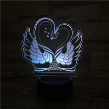 3D LED Lamp Two swans bedside 7 Color Changing decorative lights RGB Boy Child Kids Baby Birthday Gifts USB 3D LED Night Light marvel superheroes 3d night lights novelty 3d touch iron man table lamp decoration 7 color rgb 3d led lights for kids gifts dec