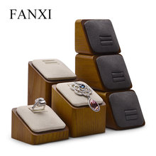 FANXI 3 Pcs/Lot Solid Wood Jewelry Display Microfiber Ring Earring Stand with Showcase Exhibitor for Shop