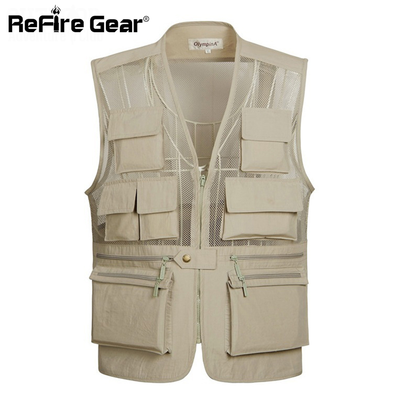 Good Casual Summer Breathable Mesh Vest Men Fast Dry Photographer Sleeveless Jacket Lightweight Quick Dry Multi-pocket Bicycle Vest Ample Supply And Prompt Delivery