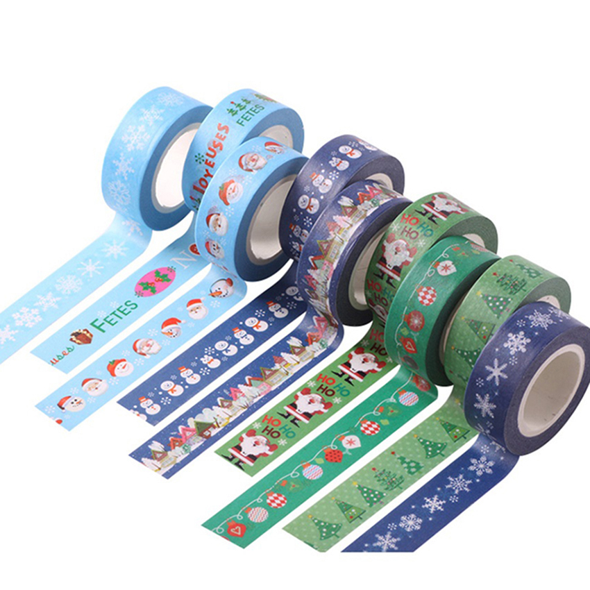 New Arrival  Many Styles Christmas Santa Claus Snowman Decorative Washi Tape Single Sided Paper Masking Tape Adhesive Paper Tape