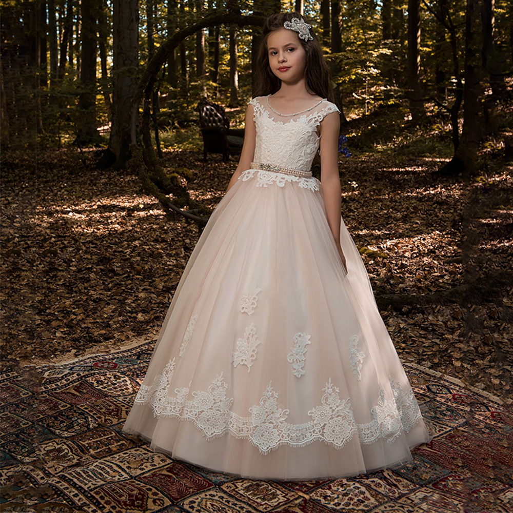 New   Flower     Girl     Dresses   Ball Gown Long Sleeves O-neck Formal Lace White Ivory Custom Made First Communion Gowns Vestidos Longo